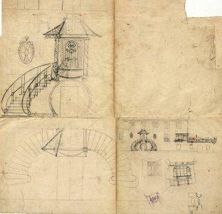 Esbós del projecte de reforma de la fàbrica d'embotits Pere Coderch, a Olot, entre els anys 1914 i 1920
