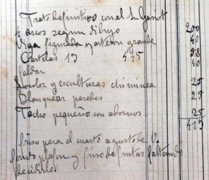 Esborrany del pressupost de diferents treballs a la casa Gassiot, 17.4.1914 (ACGAX. Fons Sadurní Brunet Pi. Dietaris)