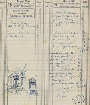 Esborrany del pressupost i dibuixos de diferents treballs a la casa Gassiot, 13.3.1916 (ACGAX. Fons Sadurní Brunet Pi. Dietaris)