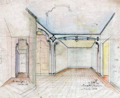 Projecte de disseny del rebedor del primer pis de la casa Riera, a Olot, 1913