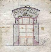 Projecte de la façana de la farmàcia Pujol, 1917