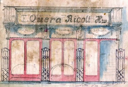 Esbós de la façana de la botiga Quera Ricolt, 1918