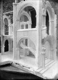 Vista parcial de la maqueta de la nau lateral de l'església nova del santuari del Collell, 1929 (ACGAX, Fons Sadurní Brunet Pi. Autor: Sadurní Brunet)