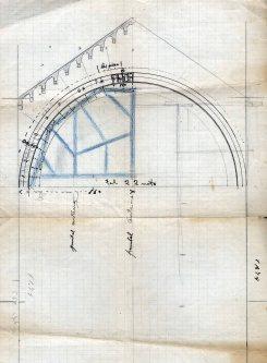 Croquis per explicar com cobrir la nau central de l'església nova del santuari del Collell, 1929