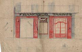 Esbós del projecte de reforma de la drogueria Francesc Tarrús, a Olot, entre els anys 1914 i 1916