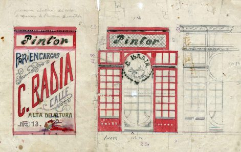 Esbós porta i cartell de la botiga pintor Badia (1913)