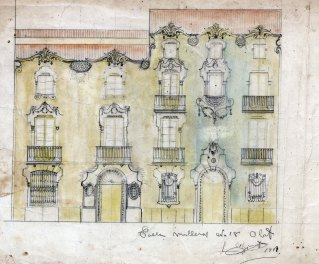 Projecte de disseny de la façana d'una casa situada al carrer de Camil Mulleras, a Olot, 1918