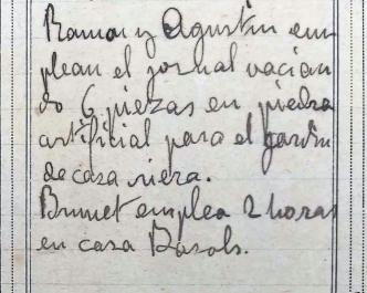 Anotacions de treballs al jardí de la casa Riera, 1913 (ACGAX. Fons Sadurní Brunet Pi. Dietaris)