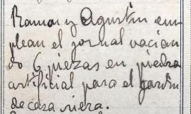 Anotacions de treballs a la casa Riera, 1913 (ACGAX. Fons Sadurní Brunet Pi. Dietaris)