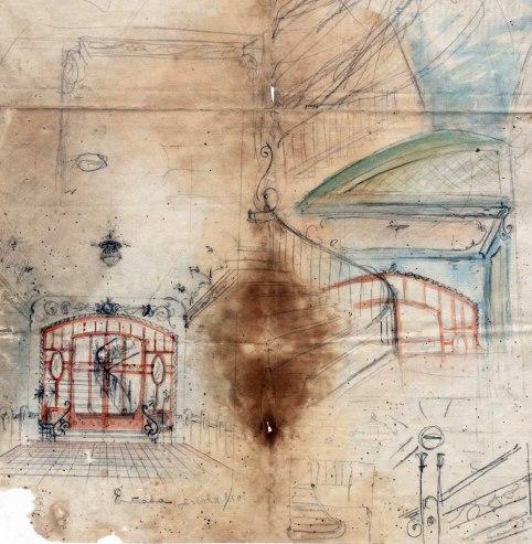 Esbossos de l'entrada de l'Hotel del Parc, 1917