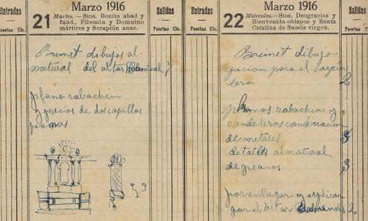 Esbós i detalls sobre l'altar de Can Gou, 21 i 22.3.1916 (ACGAX. Fons Sadurní Brunet Pi. Dietaris)