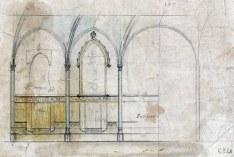 Esbós de la paret lateral de l'oratori de la casa Caminals o torre de can Gou, 1916