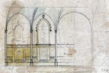 Esbós de la paret lateral de l'oratori de Can Gou, 1916