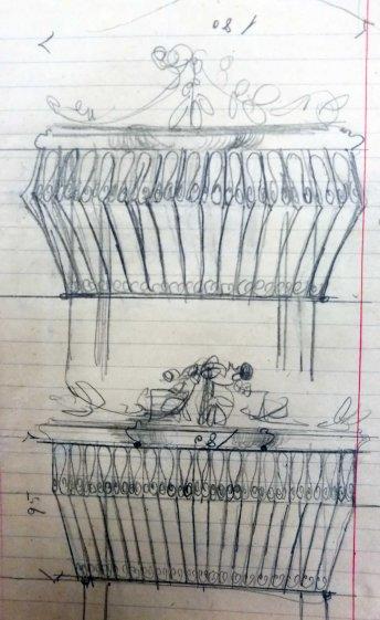 Esbossos del forjat dels balcons de la casa Ricart, 1913