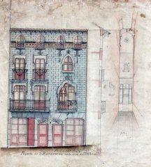 Façana i secció de la casa Ricart, 1913
