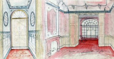 Projecte de reforma del vestíbul i el menjador d'una casa situada al carrer de Camil Mullleras, a Olot, 1919