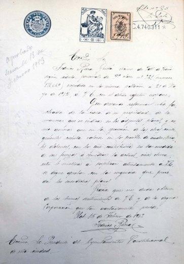 Sol·licitud per iniciar la reforma de la casa Riera, 1913 (ACGAX. Fons Ajuntament d'Olot. Expedient de llicència d'obres)