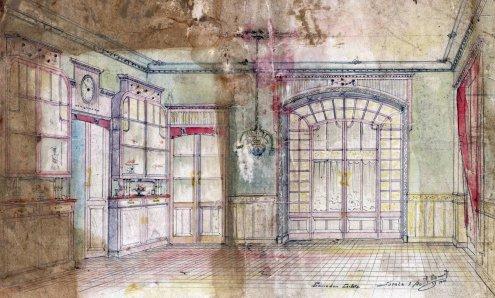 Proposta de reforma del menjador de la casa Carlets, a Olot, 1914