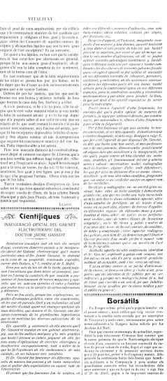 """Notícia de la inauguració del gabinet del doctor Jaume Gassiot (""""La tradició catalana"""", 5.5.1912)"""