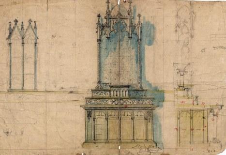 Esbós de l'altar de l'oratori de Can Gou, a Olot, 1916
