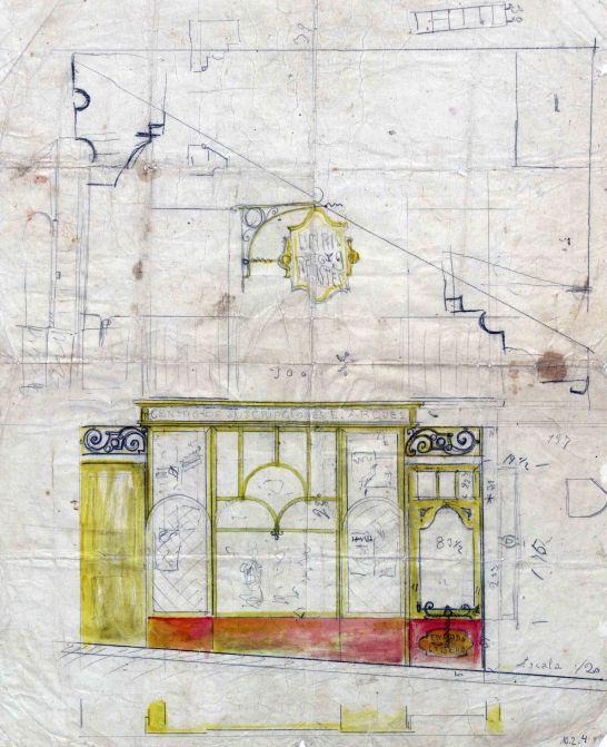 Esbós del projecte de reforma del Centre de subscripcions Eudald Arqués, a Olot, 1918
