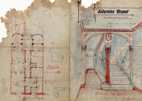 Projecte de reforma de dos edificis al carrer de Camil Mulleres, a Olot, 1919