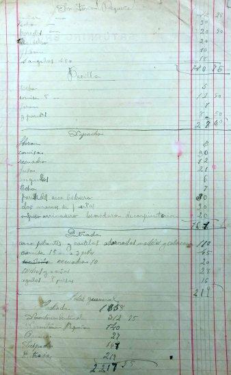 Esborrany de la factura de les feines a la casa Ricart (ACGAX. Fons Sadurní Brunet Pi. Autor: Sadurní Brunet)