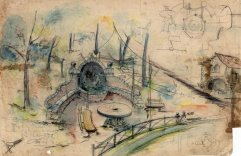 Esbós del projecte de la font Soler, al costat de can Ribes, a la Cellera de Ter, 1918