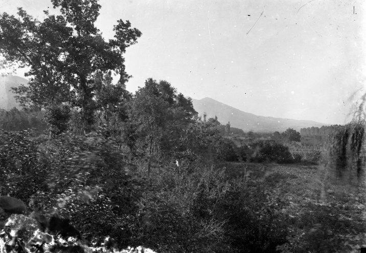 Vista parcial dels camps de can Ribes, situats entre la masia homònima i el riu Ter, a la Cellera de Ter, 1918 (ACGAX. Fons Sadurní Brunet Pi. Autor: Sadurní Brunet)