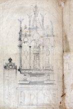 Esbós de l'altar de l'oratori de Can Gussinyer, a Castellfollit de la Roca, 1916