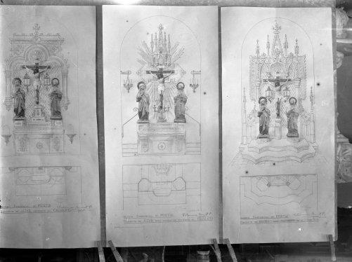 Reproducció dels projectes de reforma de l'altar del Calvari i de l'Adoració de l'església de Sant Julià, a Fortià, 1948 (ACGAX. Fons Sadurní Brunet Pi. Autor: Sadurní Brunet)