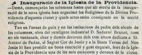 """Notícia de la inauguració de l'església de la Divina Providència. (""""La tradició catalana"""", 3.1.1925)"""