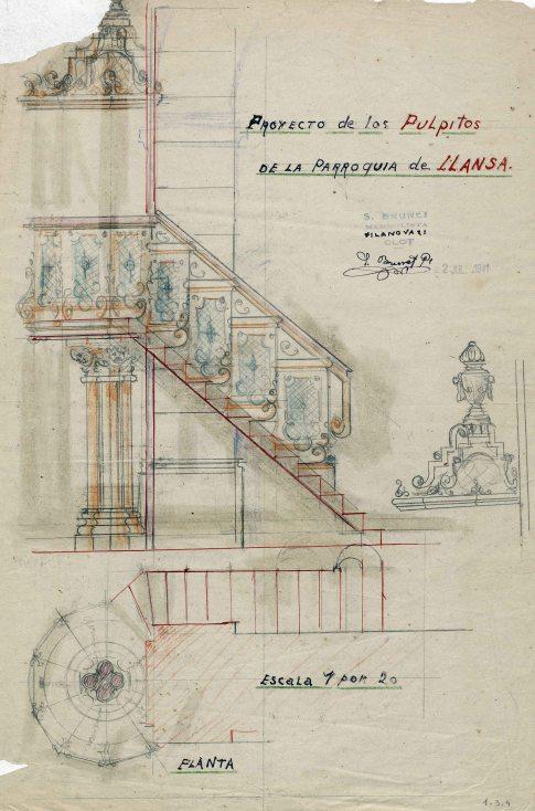 Projecte de trona de l'església de Sant Vicenç, a Llançà, 1941
