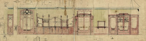 Projecte del taulell i les portes de la sucursal de la banca Saderra, Prat y Compañía al carrer de Sant Esteve, 27, d'Olot, 1915