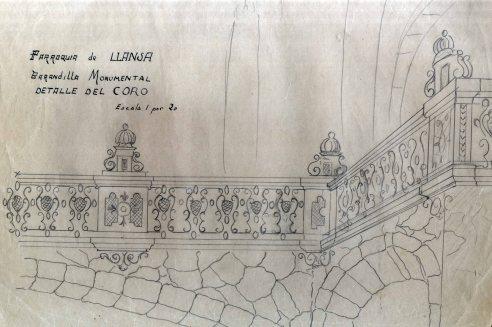 Projecte de barana del cor per a l'església de Sant Vicenç, a Llançà, 1941