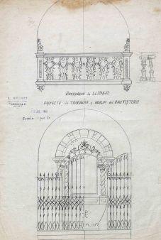 Projecte de tribuna i de barana del baptisteri per a l'església de Sant Vicenç, a Llançà, 1941