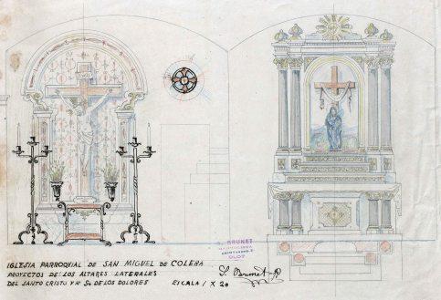 Projecte dels altars del Sant Crist i dels Dolors de l'església de Sant Miquel, a Colera, c. 1941