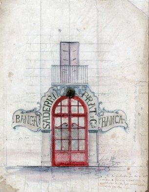 Projecte de la façana de la sucursal de la banca Saderra, Prat y Compañía, a Banyoles, 1916
