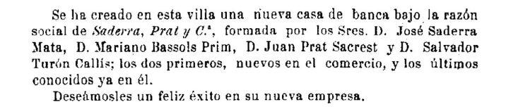 """Notícia sobre la creació de la banca Saderra, Prat y Compañía, (""""El Deber"""", 23.3.1901)"""