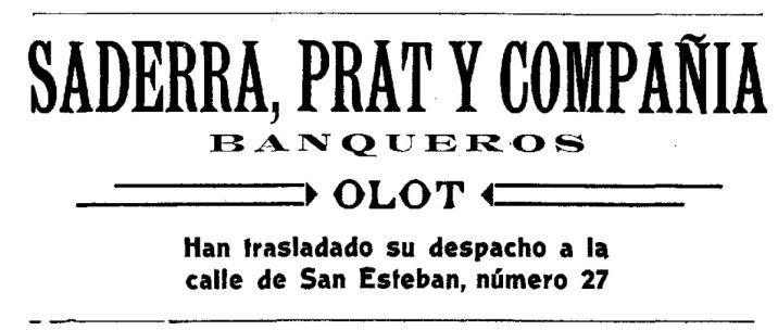 """Anunci del trasllat de la banca Saderra, Prat y Compañía al carrer de Sant Esteve, d'Olot (""""El Deber"""", 31.7.1915)"""