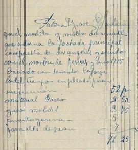 Esborrany de la factura d'una escultura per a Josep Saderra, 1.1.1916 (ACGAX. Fons: Sadurní Brunet Pi. Dietaris)