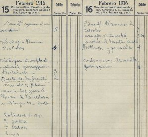 Anotacions de diferents treballs a la casa Hostench, 15.2.1916 (ACGAX. Fons Sadurní Brunet Pi. Dietaris)