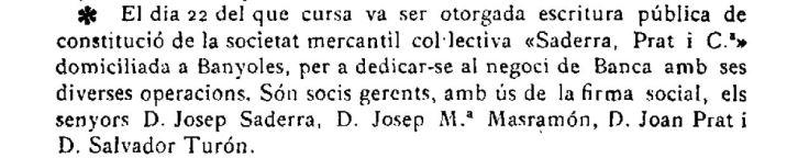 """Notícia sobre la constitució de la societat mercantil Saderra, Prat y Compañía a Banyoles (""""El Deber"""", 29.1.1916)"""