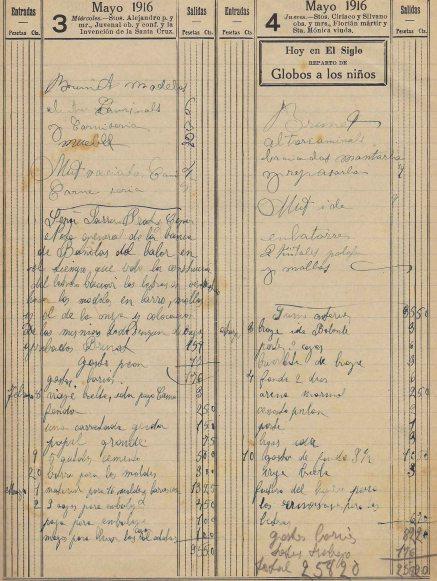 Esborrany de la factura relacionada amb la reforma de la banca Saderra, Prat y Compañía, a Banyoles, 3.5.1916 (ACGAX. Fons Sadurní Brunet Pi. Dietaris)