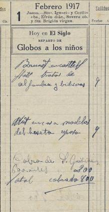 Anotacions sobre treballs i cobraments de l'oratori de Can Gussinyer, 1.2.1917 (ACGAX. Fons: Sadurní Brunet Pi. Dietaris)