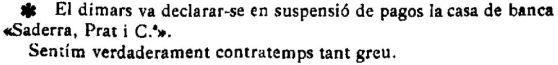 "Notícia sobre la suspensió de pagaments de la banca Saderra, Prat y Compañía a Banyoles, (""El Deber"", 6.12.1919)"