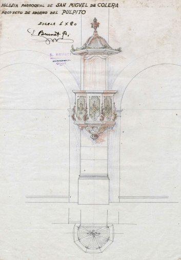 Projecte de trona de l'església de Sant Miquel, a Colera, c. 1941