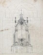 Esbós d'altar de l'església de Sant Julià, a Fortià, 1948