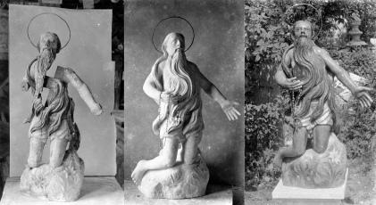 Procés de restauració d'una figura religiosa, entre els anys 1914 i 1933 (ACGAX. Fons Sadurní Brunet Pi. Autor: Sadurní Brunet)