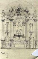 Esbós de l'altar major de l'església de Sant Vicenç, a Llançà, 1941